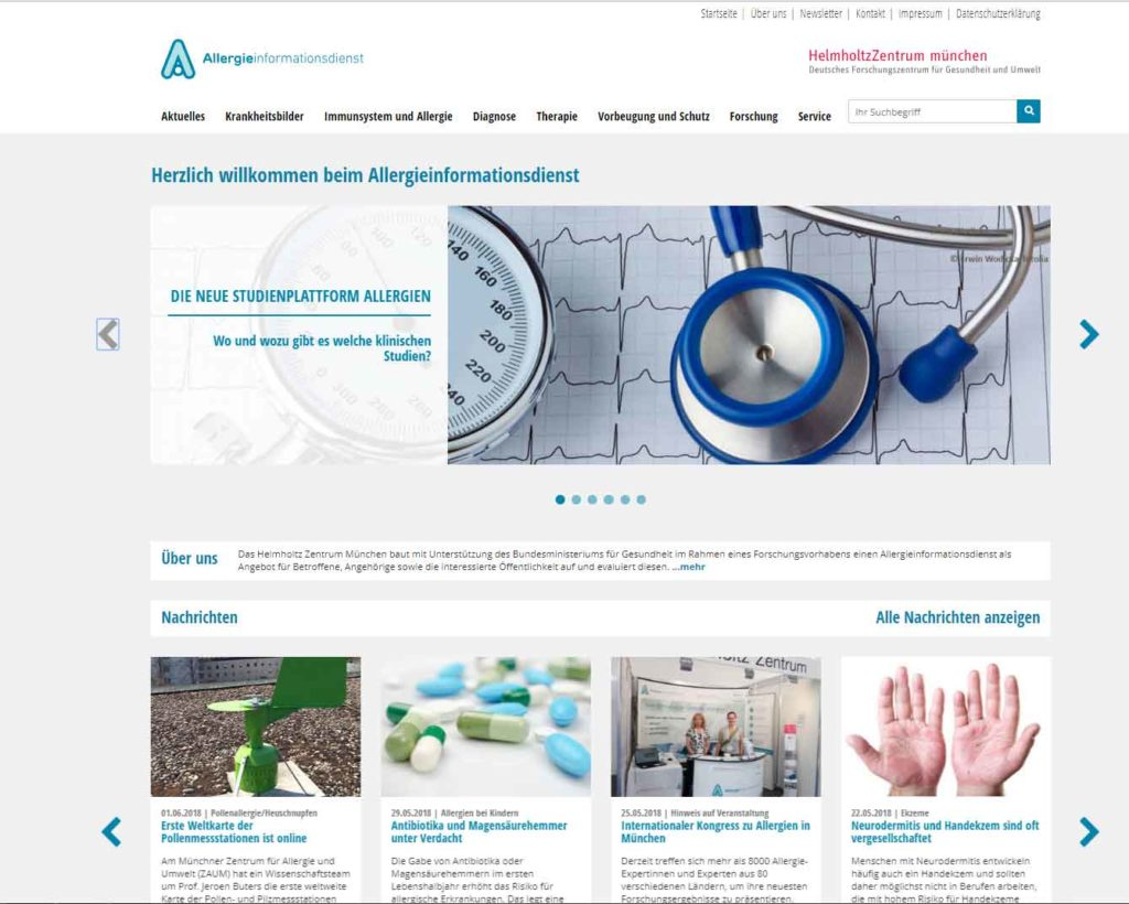 Allergieinformationsdienst Studienplattform © Helmholtz Zentrum München