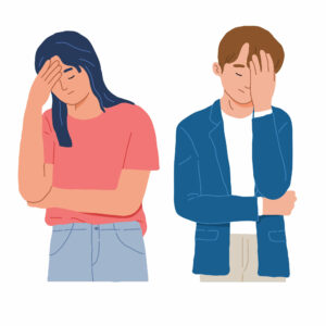 Portrait of a man and woman with a gestures facepalm because headache shame and disappointment in vector flat illustration cartoon style